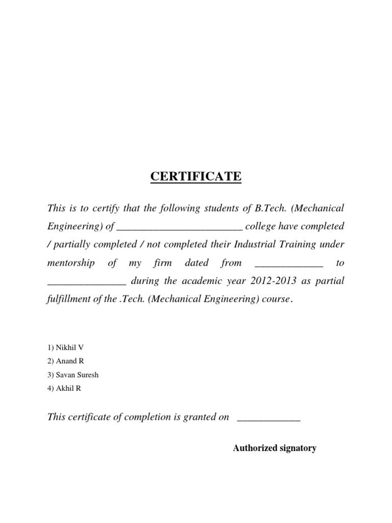 engineering Industrial Training Certificate – Project Completion Certificate Format