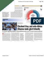 Elezioni Usa, nel voto diviso Obama vede già il trionfo, Avvenire, 20/10/12, di Paolo M. Alfieri