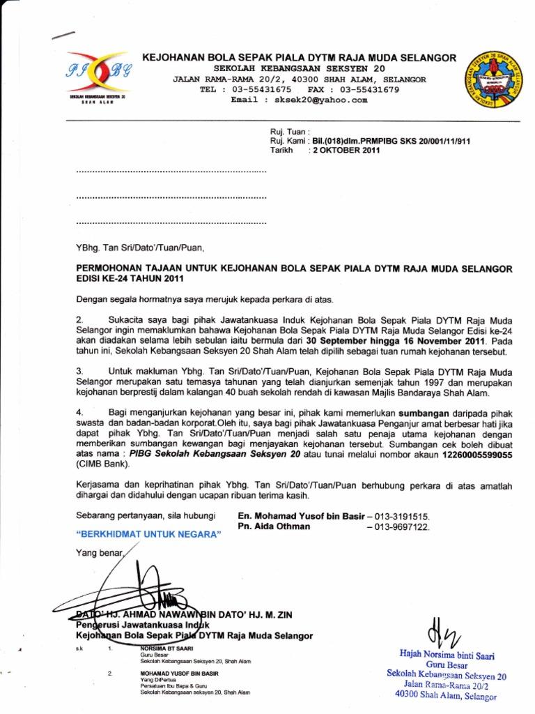 Contoh Surat Mohon Tajaan