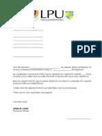 LPU Practicum Recommendation Letter