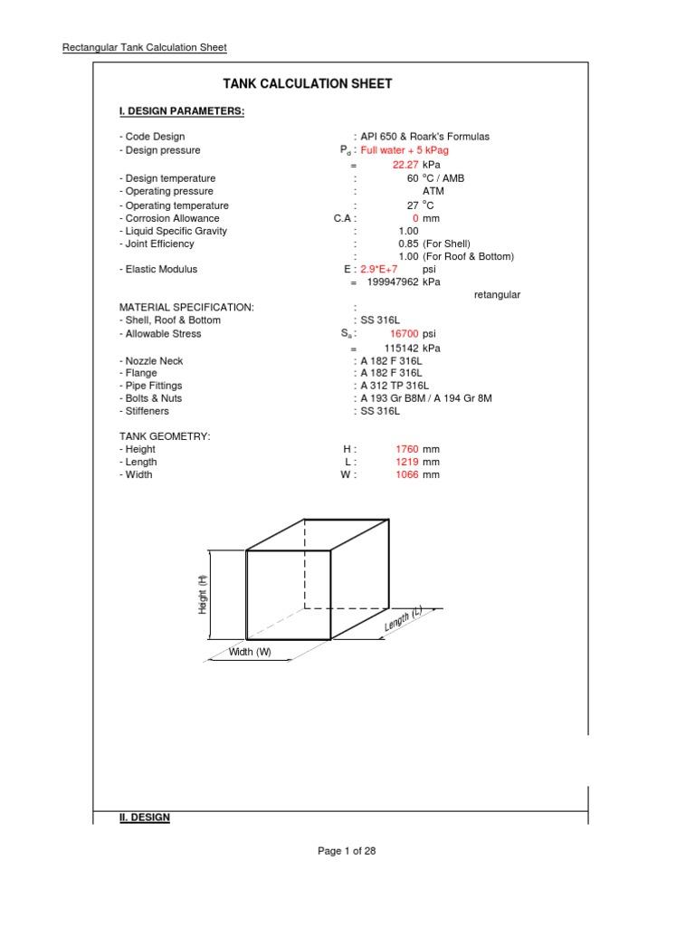 Rectangular Tank Calculation | Bending | Pressure