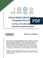 Cisa Cism Cgeit Crisc 2011 Overview