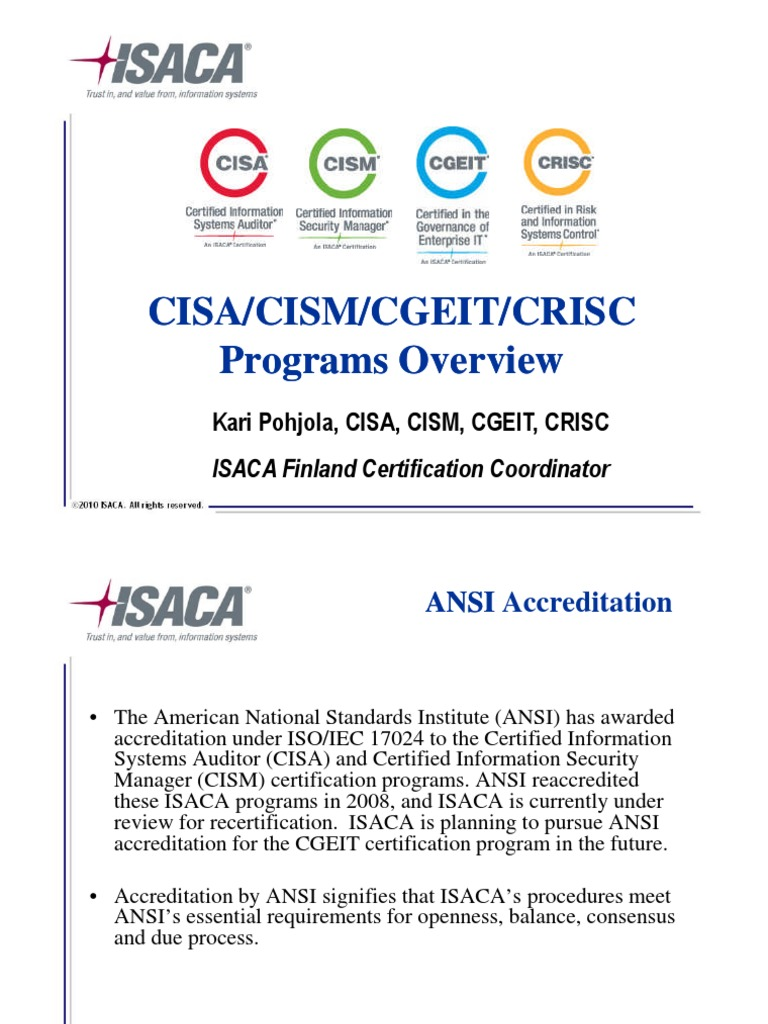 Cisa Cism Cgeit Crisc 2011 Overview Test Assessment
