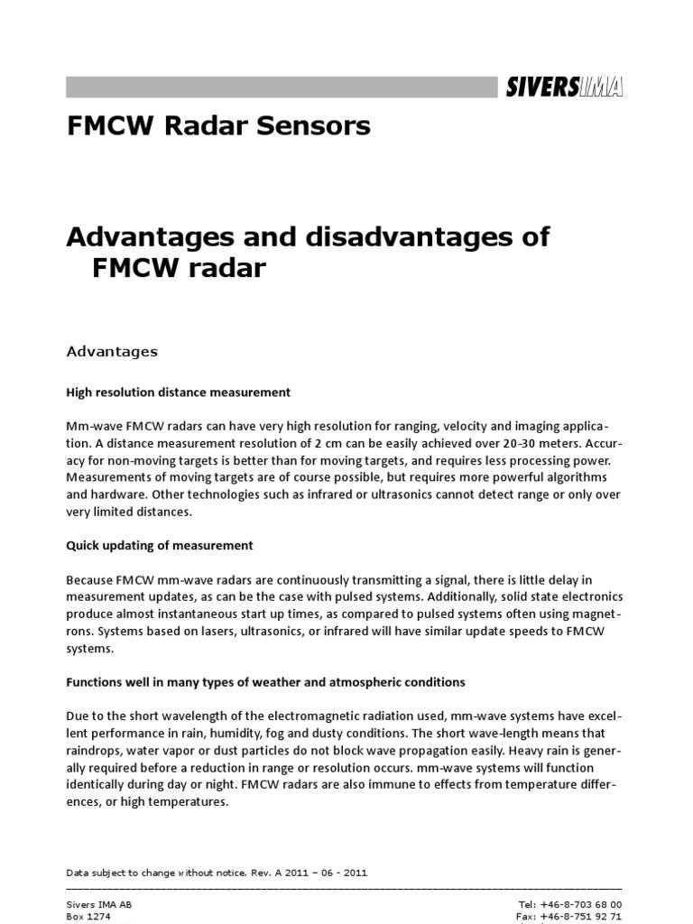 FMCW Radar App Notes Advantages and Disadvantages