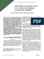 Computer Aided Design Automation of Low Power, Low Voltage Four Quadrant Transconductance Multiplier
