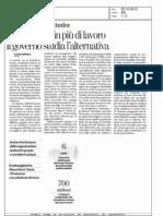 LA Stampa 22 10 2012 Troppe 6 ore in più di lavoro Il governo studia l'alernativa