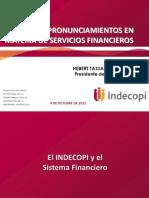 INDECOPI 2012 Acciones y Pronunciamientos Financieros Herbert Tassano _ ASPEC
