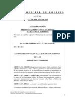 Ley 263 Ley Integral contra la Trata y Tráfico de Personas