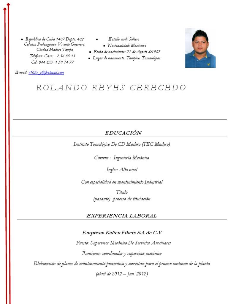 ejemplo de CV Ing Mecanico 2012