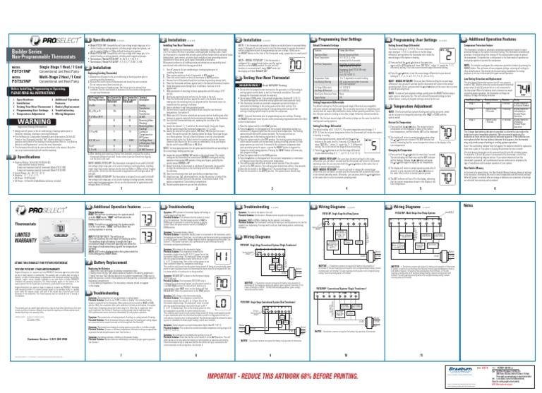 Proselect Psts21np And Psts11np Installation Manual Manual Guide