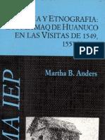 ANDRES Martha - Historia y etnografía. Los Mitmaq de Huánuco en las visitas de 1549, 1557 y 1562