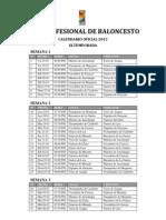 Calendario Oficial Lpb 2013