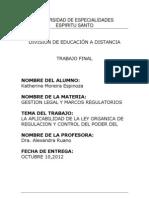 LA APLICABILIDAD DE LA LEY ORGANICA DE  Y CONTROL DEL PODER