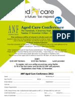 1210 Aged Care Conference Registration Form