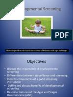 Developmental Screening Fall 2012