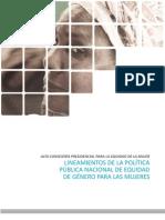 Lineamientos Politica Publica Equidad de Genero