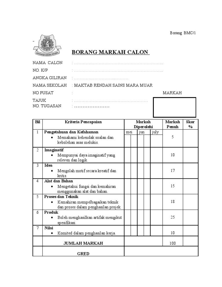 Borang Bmc Individu