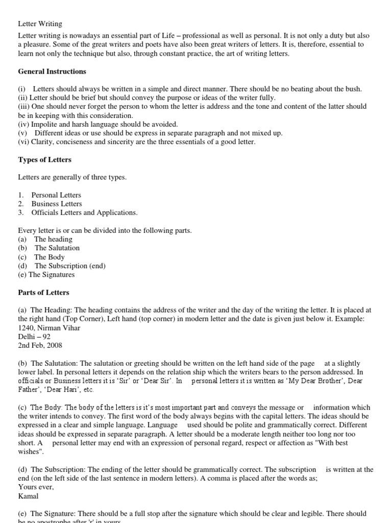 Letter Writing Correct Salutation.  Letter Writing Semiotics
