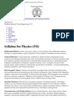 Syllabus for Physics (PH) _ GATE 2013