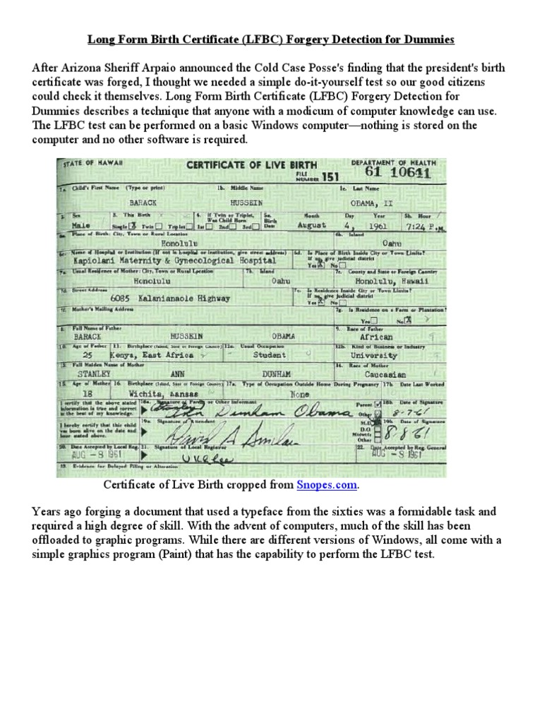 Long Form Birth Certificate Forgery Detection For Dummies Areas Of