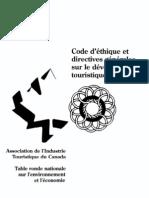 Code d'éthique et directives générales sur le développement touristique durable