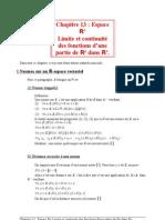 13 Espace Rn Limite et continuité des fonctions d'une partie de Rp dans Rn