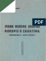 Osman A. Sokolovic  - Jedan rijedak arapski rukopis o zanatima