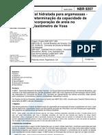 NBR 9207- 2000 - cal hidratada para argamassas - determinação da capacidade de incorporação de ar