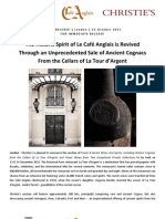 The Historic Spirit of Le Café Anglais is Revived Through an Unprecedented Sale of Ancient Cognacs From the Cellars of La Tour d'Argent, London, 13 - 14 December 2012 Inbox x