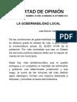 LA GOBERNABILIDAD LOCAL