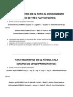 Inscripciones Reto Al Conocimiento - Futbol Sala