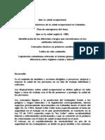 Salud Ocupacional Mundial y Colombiana