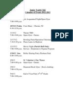 Junior Youth Club Calendar of Events