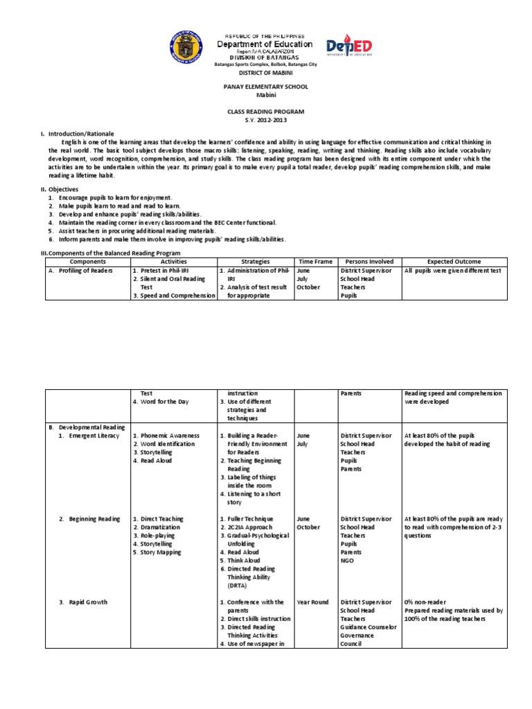 Class Reading Program   Reading (Process)   Reading Comprehension