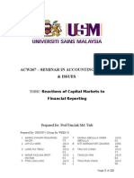 Reactions of Capital Markets