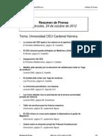 Resumen prensa CEU-UCH 24-10-2012
