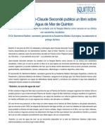 Jean-Claude Secondé publica un libro sobre el Agua de Mar