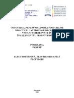 Programa Electrotehnica Si Electromecanica Programa Titularizare 2010 P
