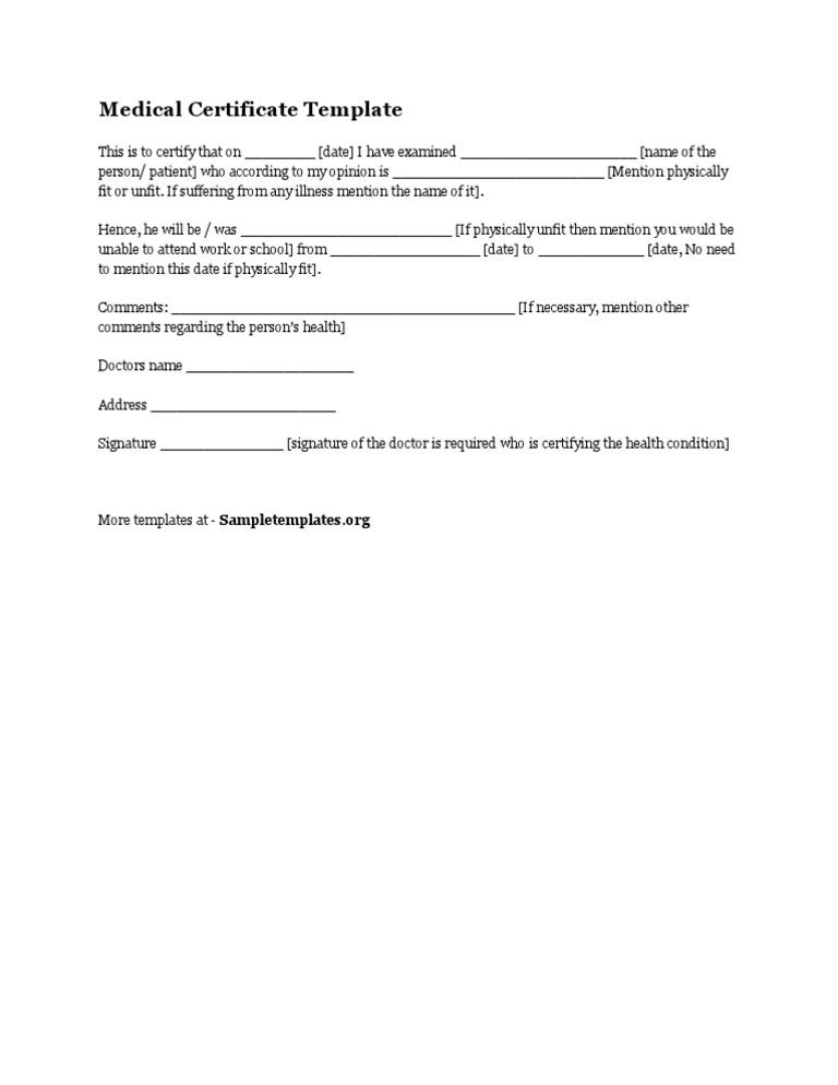 medical illness certificate