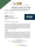 Ponencia primer debate del proyecto de ley de matrimonio para parejas del mismo sexo (Colombia - 2012)