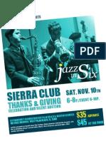 Jazz in Six - Sierra Club Event November 10, 2012 at 6p.