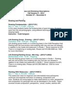 Descriptions Fall II, 2012 Classes & Workshops