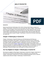 Chapter 13 Bankruptcy in Carmel CA