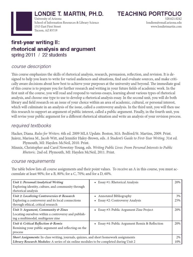 Londie T. Martin - First-Year Writing II: Rhetorical Analysis and Argument  Syllabus | Rhetoric | Essays