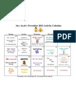 November 2012 Activity Calendar
