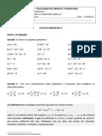 Lista 2 - Nivelamento em Matemática Básica II _ 2012.2