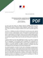 Déclaration de Jean-Marc Ayrault sur la Corse