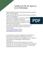 CARTA enviada a La FIL de Apoyo a Alfredo Bryce Echenique