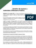 UNICEF hace donación de equipos y materiales al Ministerio Público.