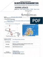NDRRMC Update Re Severe Weather Bulletin No. 10 Re Tropical Storm OFEL (Son-Tinh)